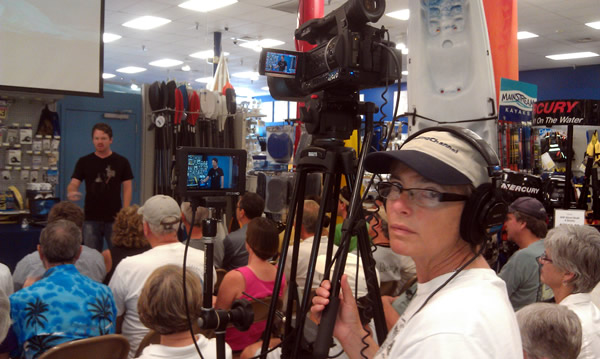 Filming at a West Marine lecture